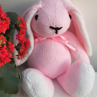 Pink Rabbit, hand knitted soft toy.