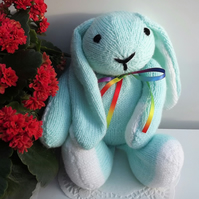 Green Rabbit, hand knitted soft toy.