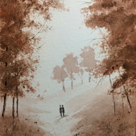 Original Watercolour ' Romantic walk ' by Stephen Allen
