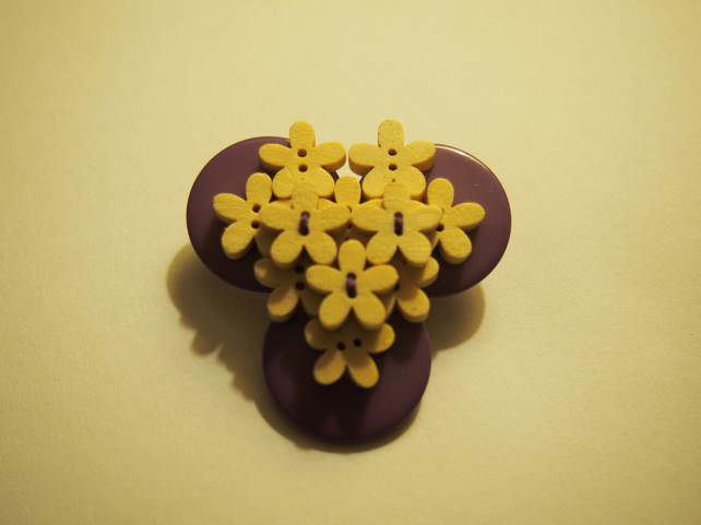 Flower Button Brooch