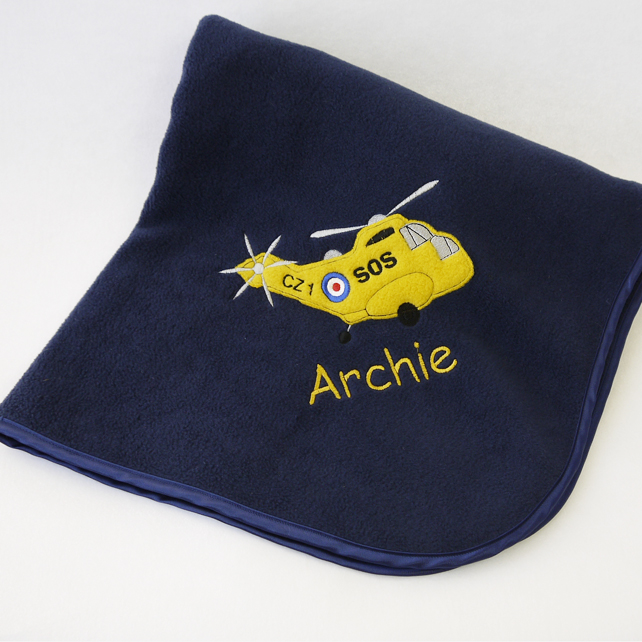 Navy Personalised Rescue Helicopter Blanket