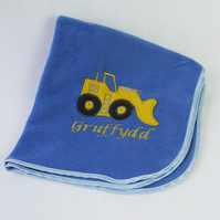 Personalised Denim Blue Digger Blanket