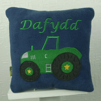 Personalised Green Tractor Cushion