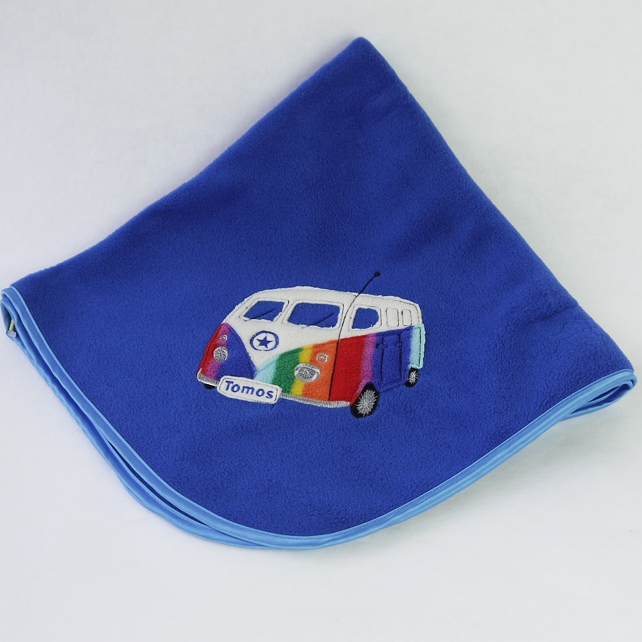 Personalised Royal Blue Camper van blanket