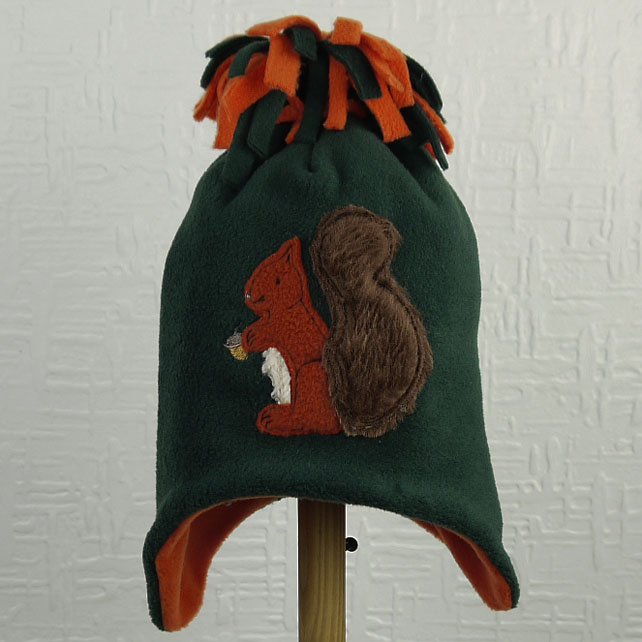 Red Squirrel Fleece Tassel Hat