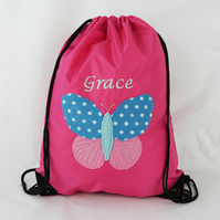 Girls Butterfly Personalised Gym Bag
