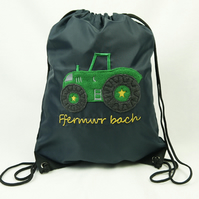 Navy Gym Bag with Green Tractor 'Ffermwr bach'