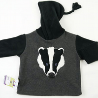 Applique Badger Face Hoodie