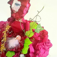 Red Flower Cloth art doll