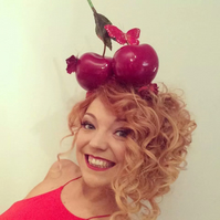 Handmade cherry fascinator