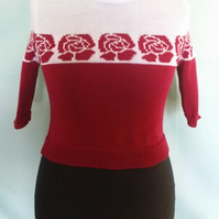 Handmade knitted 1940s style two tone jumper with rose pattern