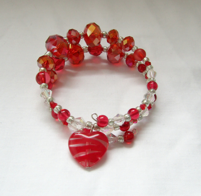 strawberries and cream expandable layered bangle