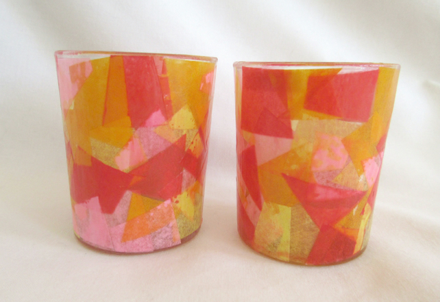 pair of colour fusion tealight holders