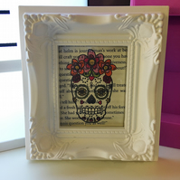 Dia de los Muertos, Day of the Dead vintage book page print wall hanging
