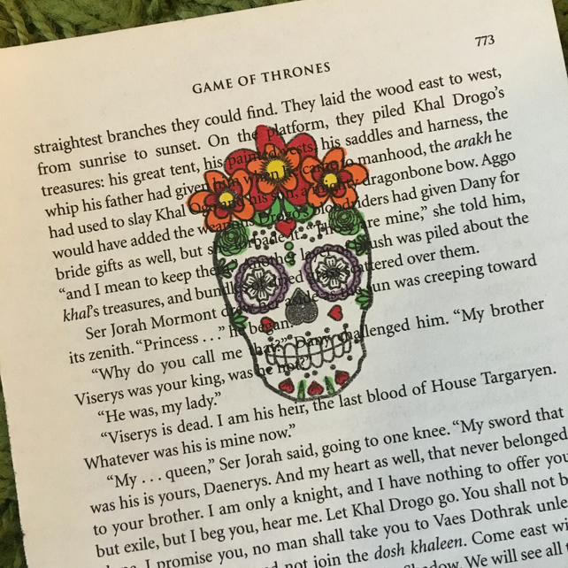Hand stamped Day of the Dead Dia de los Muertos Game Of Thrones book page art