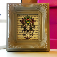 Hand stamped Dia de los Muertos Day of the Dead vintage book print.