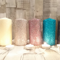 3 x 15cm Glitter Pillar Candles