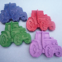 handmade novelty tractor shaped wax crayons x 6