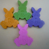novelty handmade rabbit wax crayons x 6