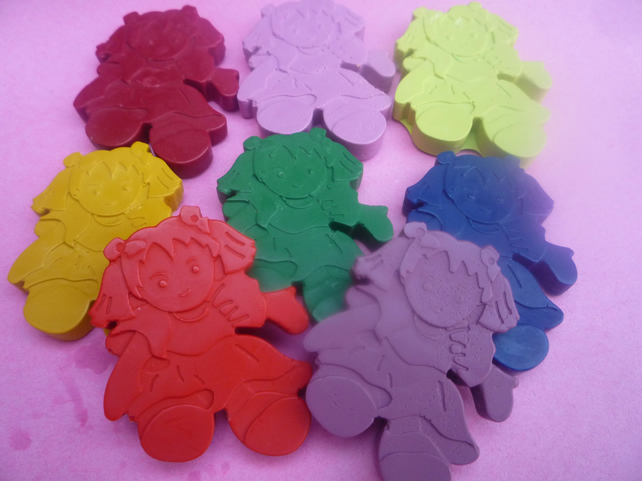 handmade doll shaped wax crayons x 6