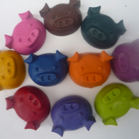 cute piggy novelty handmade wax crayons x 10