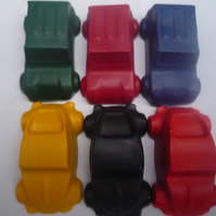 motor car novelty handmade wax crayons x 6
