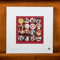 Love and Kisses Badge Collection (Unframed)