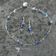 Blue Honey Necklace & Earrings Set