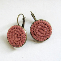 Handmade crochet round earrings pink