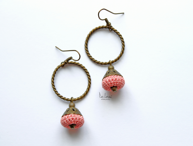 Pink handmade earrings. Crochet jewellery