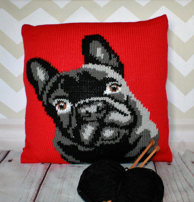 knitting pattern pdf frenchie the french bulldog cushion cover
