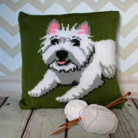 Knitting Pattern PDF - Archie the West Highland Terrier Cushion Cover