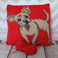 Knitting Pattern PDF - Chico the Chihuahua Cushion Cover