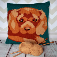 Knitting Pattern PDF - Lottie the King Charles Spaniel Cushion Cover