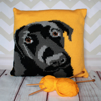 Knitting Pattern PDF - Dennis the Labrador Cushion Cover