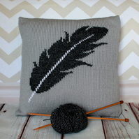 Beginner Knitting Pattern PDF - Feather Motif Cushion Cover