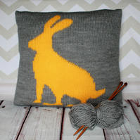 Beginner Knitting Pattern PDF - Hare Silhouette Cushion Cover