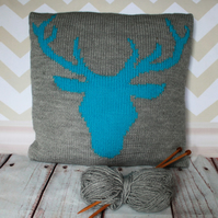 Beginner Knitting Pattern PDF - Stag or Deer Head Cushion Cover