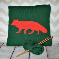 Beginner Knitting Pattern PDF - Fox Silhouette Cushion Cover