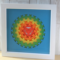 Rainbow hearts layered papercut