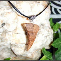 Wooden Sharks Tooth design Necklace Pendant handcrafted from English Oak