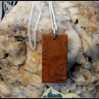 Wooden Pendant Necklace Handcrafted in Yellow Box Burl wood sterling silver
