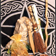 Witch's Athame Wand Set Handcrafted in English Oak Hand turned plus besom
