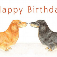 Duke and Duchess the Dachshunds - Birthday Card