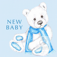 Chilly the Bear - Blue New Baby Card