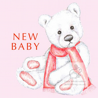 Chilly the Bear - Pink New Baby Card