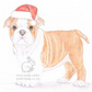 Winnie the English Bulldog - Christmas Hat Card