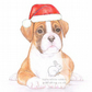 Jake the Boxer - Christmas Hat Card