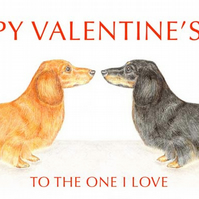 Dachshunds Nose to Nose - Valentine Card