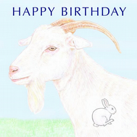 White Goat - Birthday Card